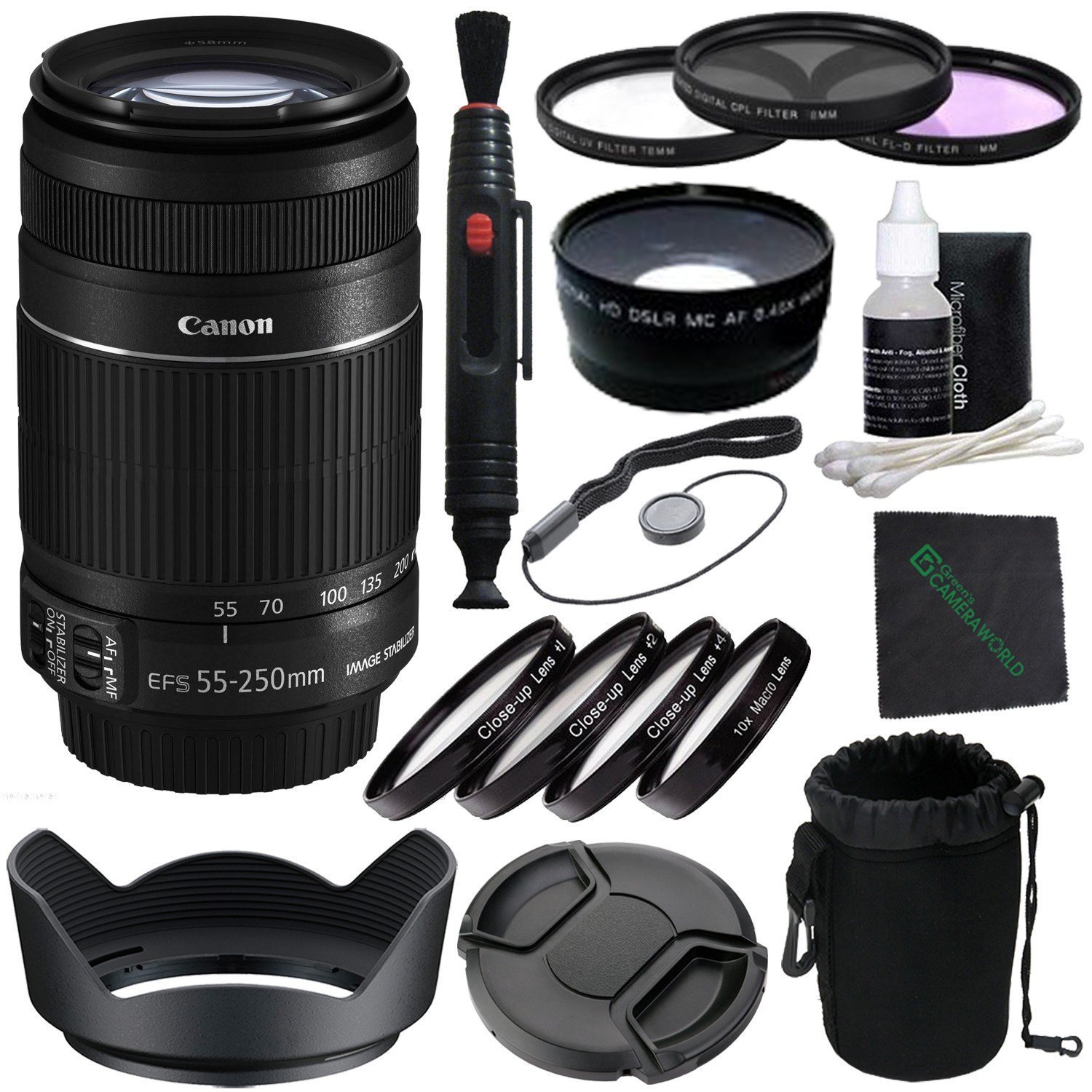 Telephoto /& Wide Angle Lens International Version 58mm UV Filter 32GB Memory Card Tulip Lens Hood Wallet Canon EF-S 55-250mm f//4-5.6 is STM Lens