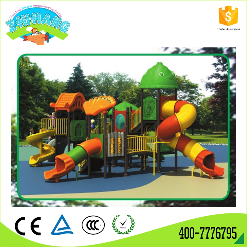 Promotional outdoor plastic swing and slide set