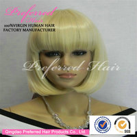 Short bob style one piece anime lace front cosplay wig with bangs