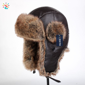 Clásico gorros russian ushanka ruso artificial sombrero de piel con  imitación de piel oído aleteando cazador 52ebdbbbb62
