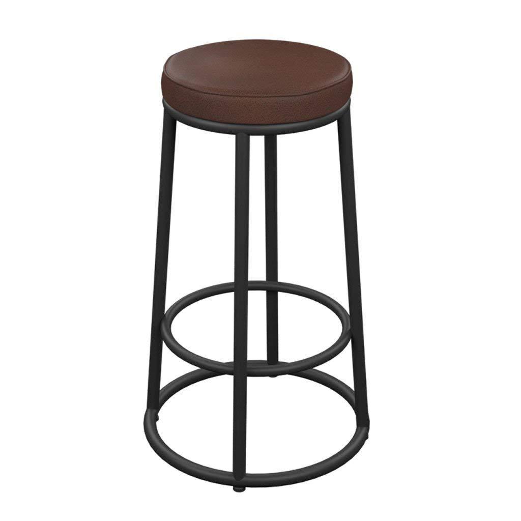 YD Bar chairs Wrought Iron Solid Wood Bar Chair Simple Bar Stool High Stool American Retro Bar Chair Front Desk Chair Solid Wood PU Seat High Stool Bar Kitchen Breakfast Dining Chair @