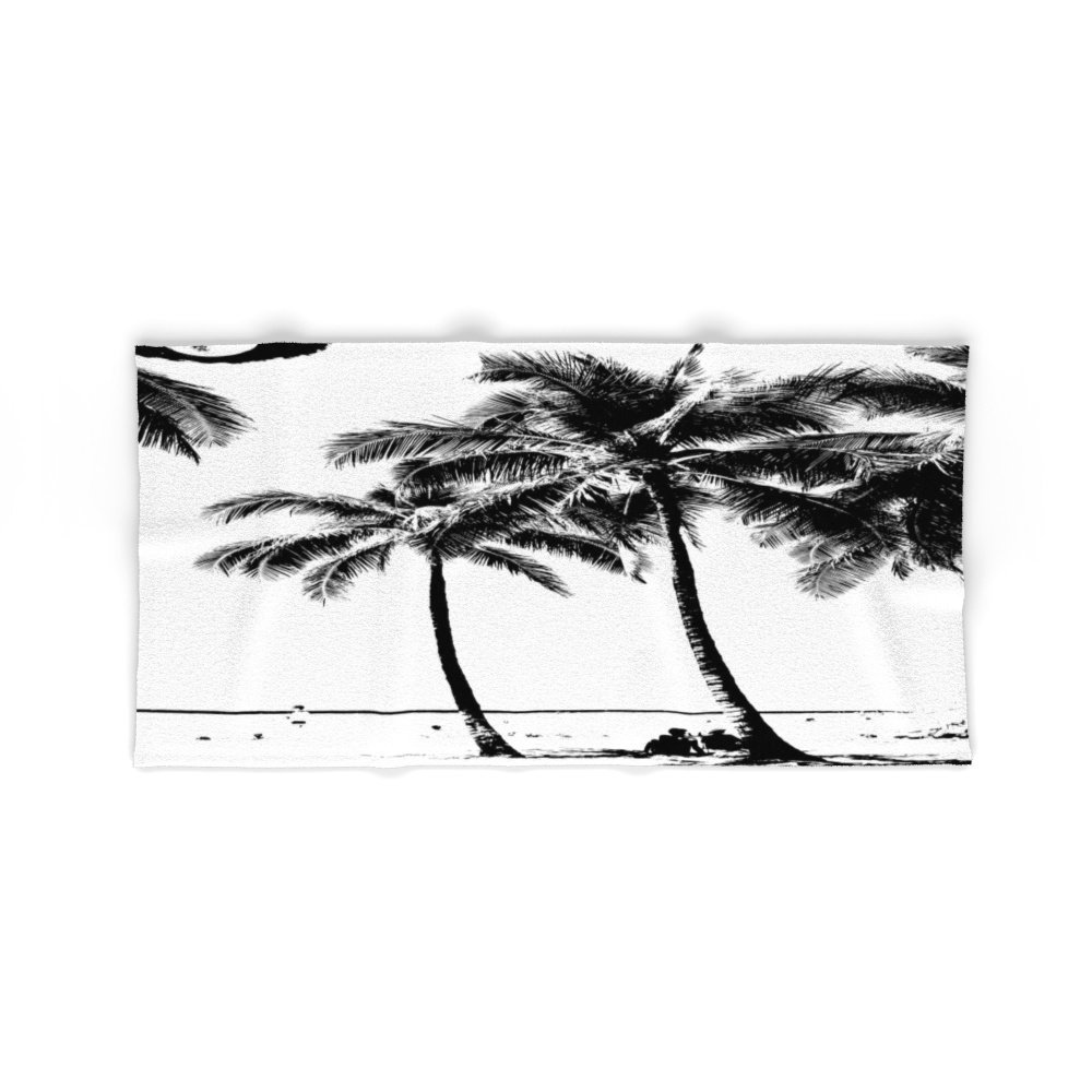 "Society6 Black And White Palm Tree With Hawaii Summer Sea Beach Bath Towel 64""x32"""