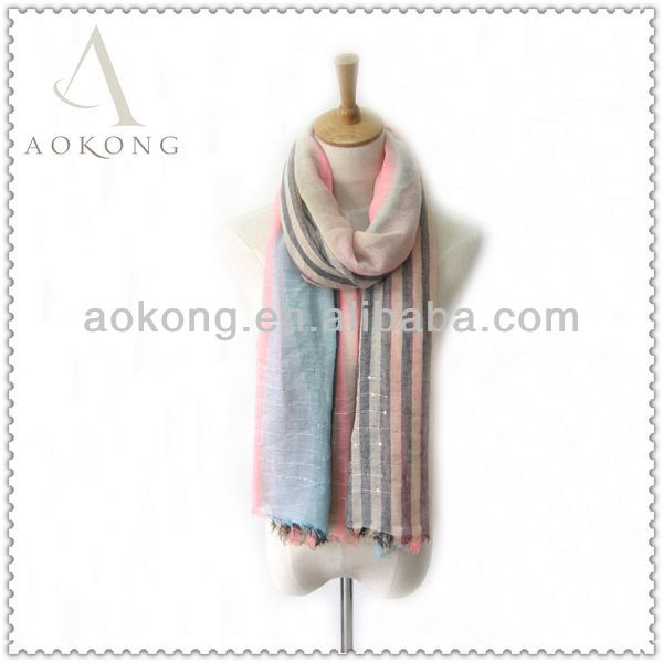Hotable fashion ladies muti-color striped with sequin woven striped light weight scarf