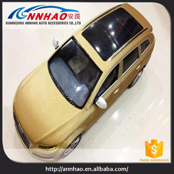 Annhao New Air Bubble Free Car Wrap Vinyl Gold Color Adhesive Brush Metal Vinyl