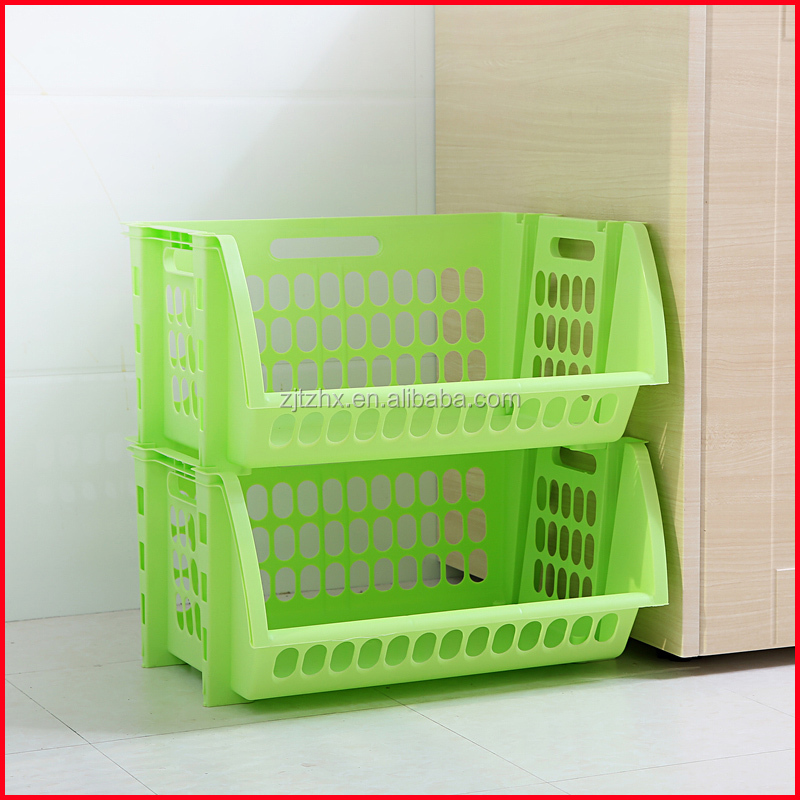 Plastic Stacking Stackers Storage Baskets Veg Rack 2 Tier Vegetable