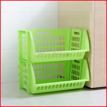 Plastic Stacking Stackers Storage Baskets Veg Rack 2 Tier Vegetable