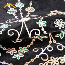 Custom design dense composite coatings velour black velvet embroidered fabric wholesale