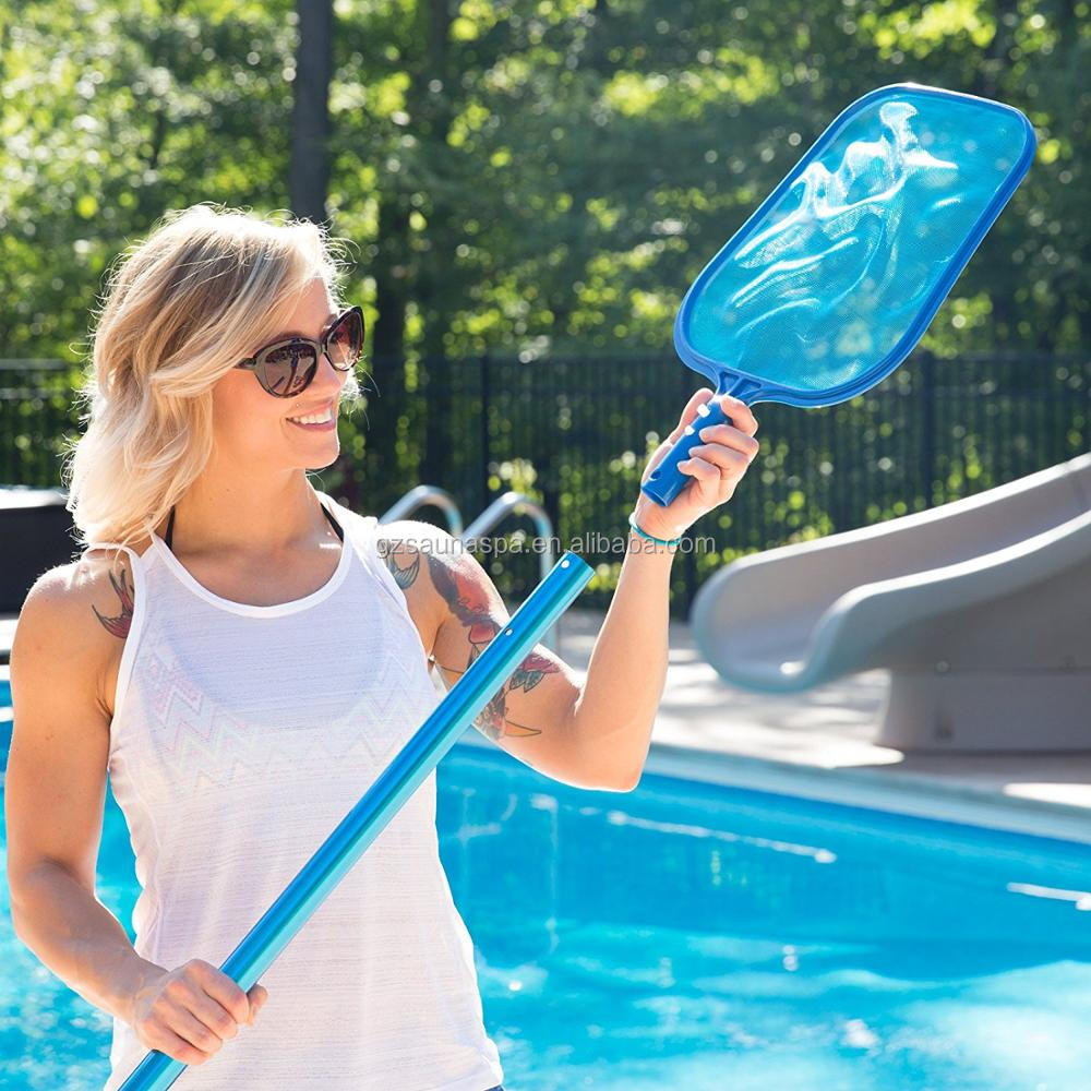 Deep Bag Net Heavy Duty Pool Leaf Rake/skimmer  with 4 Feet Adjustable Aluminum Telescopic Pole