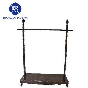 Single pole iron wholesale bedroom roman wooden clothes rack