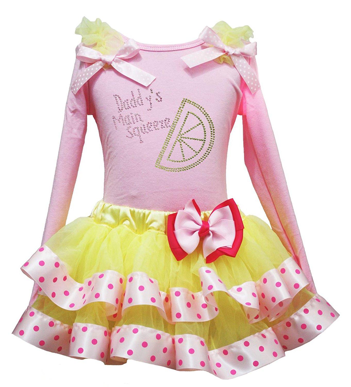 Valentine Dress Bling Love White Shirt Orange Bow Coral Petal Skirt Set 1-8y