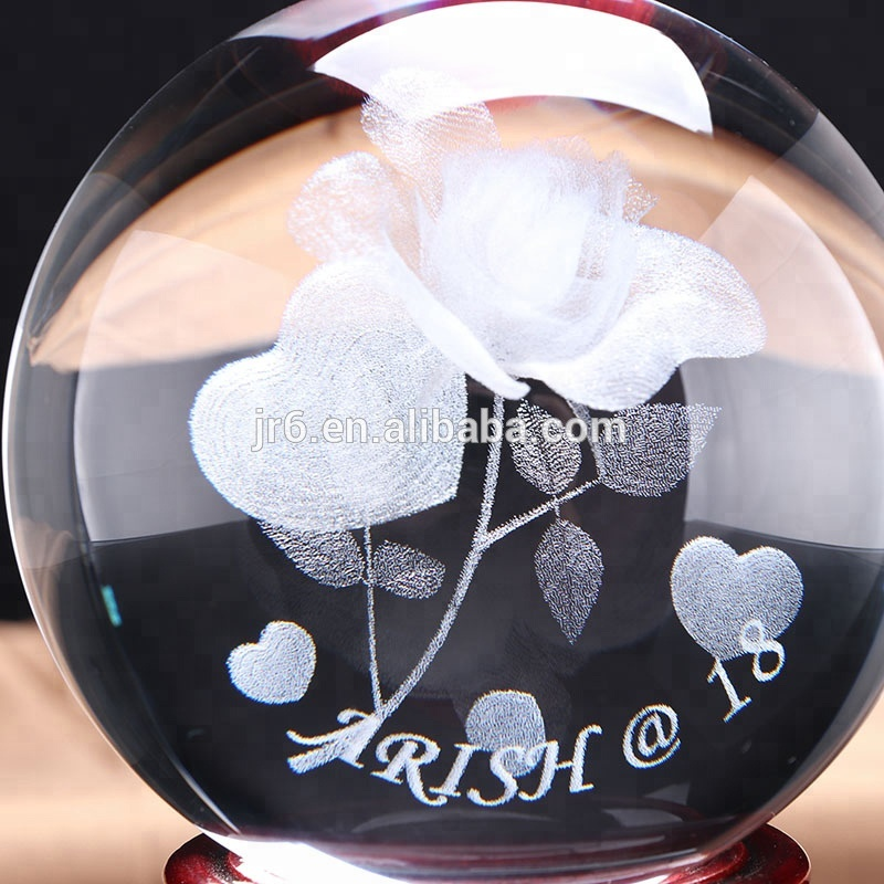 80mm Laser engraved crystal ball with 3d image k9 glass ball for home decoration souvenir
