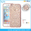 Newest 3D Plating Bumper Sunflower Bling Rhinestone Clear TPU Case For iPhone 6 6s 6+