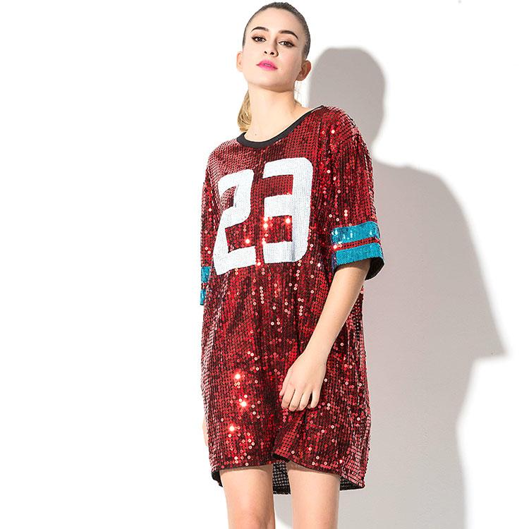 Hip Hop Bling Sequin T shirt Dress Long Women 61 Printed  T Shirt For Dancer