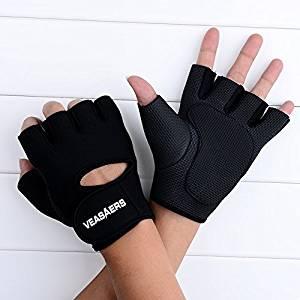 Training Fitness Slip-resistant Half Finger Gloves for Men and Women (Black, L)