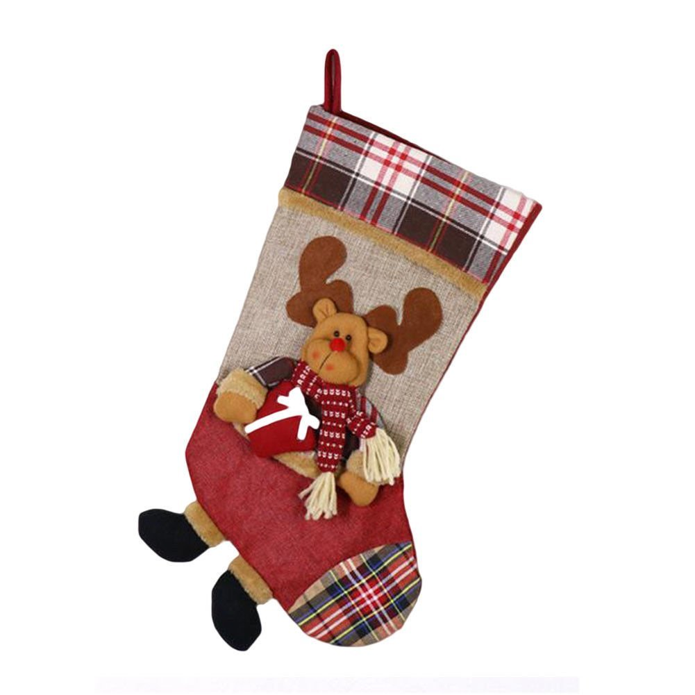 "Deylaying Christmas Elk Stockings Sdlyk Sock Candy Gift Bag Xmas Party Hanging Decoration Ornament 26.5x49x23.5cm/10.4""x19.3""x9.2"""