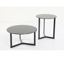 T021 Round extendable glass dining table