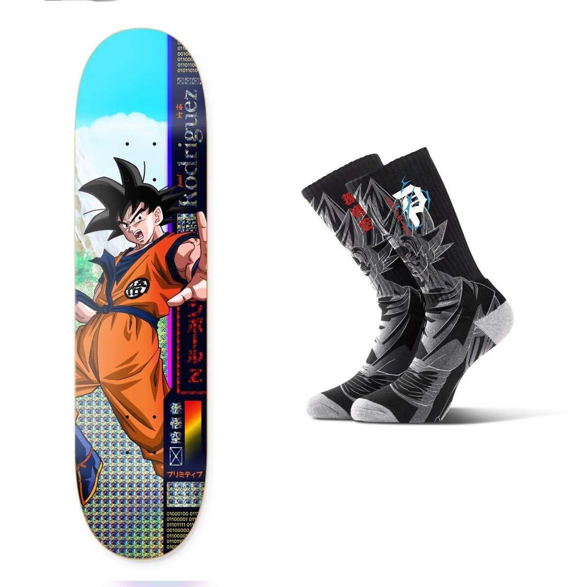 "Primitive Dragon Ball Z Rodriguez Goku Skateboard Deck 8.25"" Saiyan Black Socks"