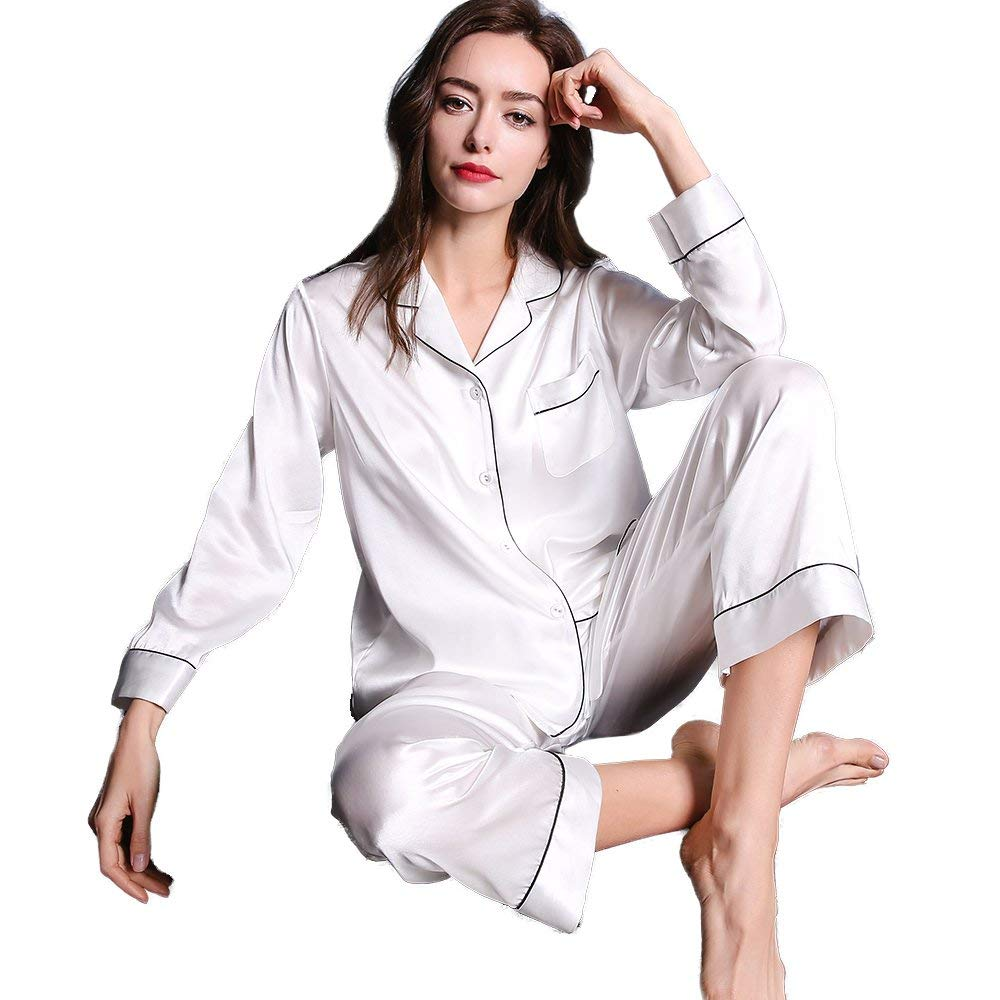 851ae38c44 Get Quotations · Relyher 100% Silk Pajama Sets For Women Home Clothing Long  Sleeve Pajama