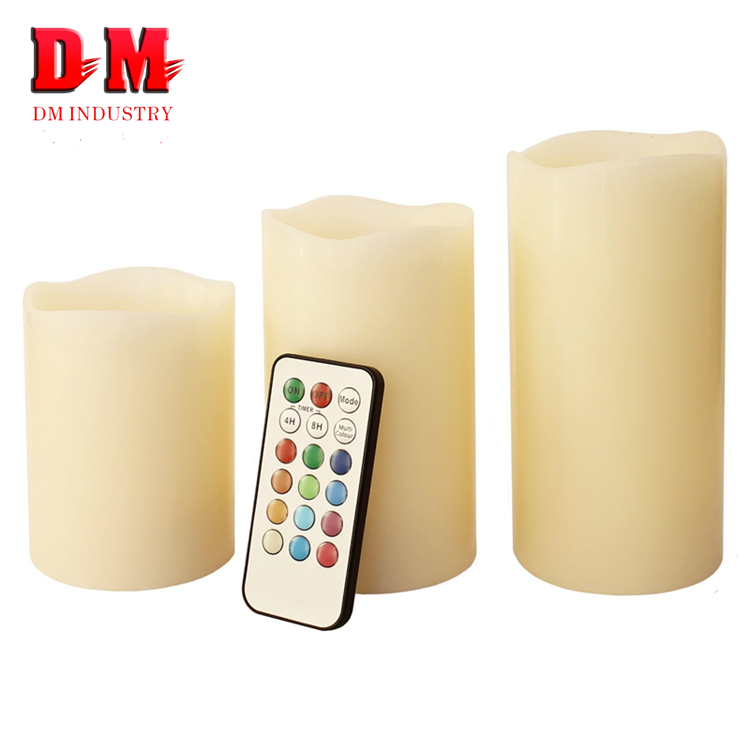 Wedding Decorative Multi Color Ivory Electronic Battery Operated Move Pillar Rechargeable Plastic LED Flameless Candle