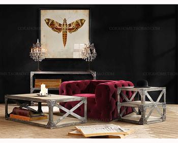 Luxury Furniture One Seat Red Velvet Tufted Sofa