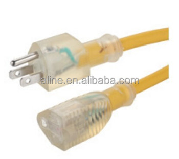 3-pin American outdoor transparent extension cord