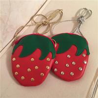 Baby Girl Bag 2017 Rivet PU Strawberry one shoulder bag Fashion Kids mini message bags Girl zipper purse