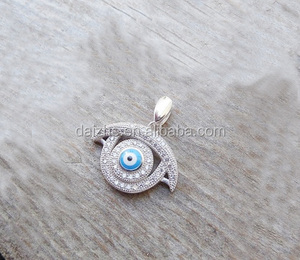 New design turkish Evil eye necklace handmade in sterling silver 925 with cz's wedding necklace