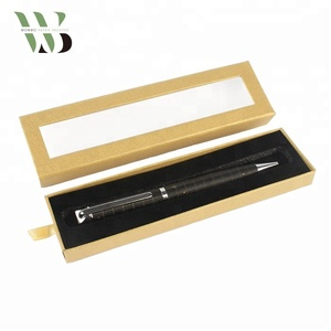 Brown kraft paper fountain pen packaging box with clear pvc window