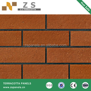 60x240mm red color 2012 year modern Exterior split brick wall tiles designs