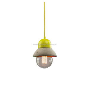 Fancy cement hanging lamp with metal cover vintage concrete pendant light