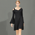 high quality women black simple formal dress