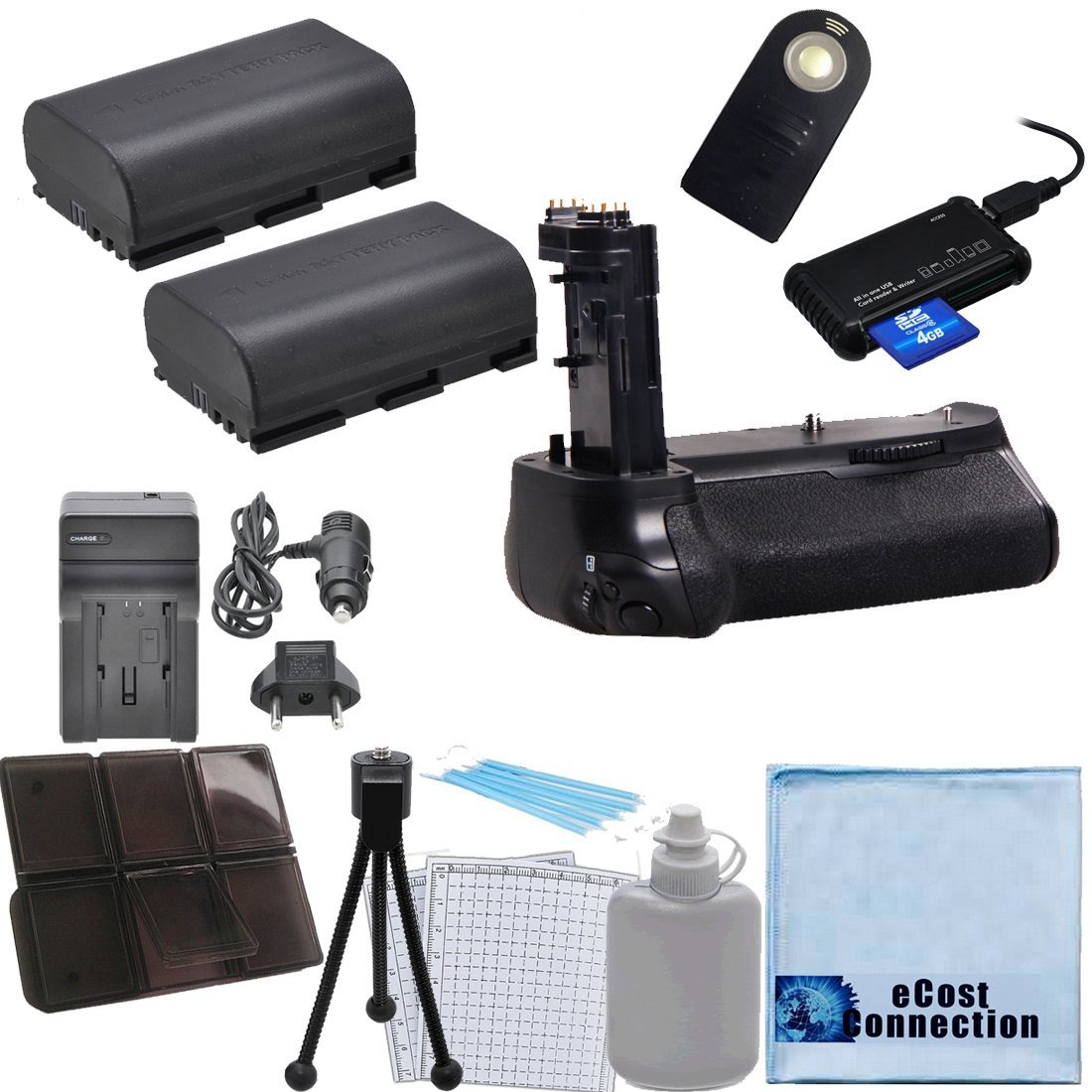 Battery Grip for Canon EOS 7D Mark II DSLR Camera Car//Home Charger Memory Card Reader Deluxe eCost Starter Kit Remote Control Shutter BG-E16 2 LP-E6 Batteries
