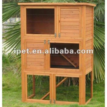 4ft Cheap Outdoor Wooden 3 Floors Rabbit Cage With Wood