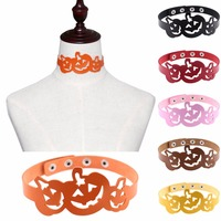 Promotion Personalized Fashion Jewelry Colorful Hollow Pumpkin Choker Leather Adjustable Necklace