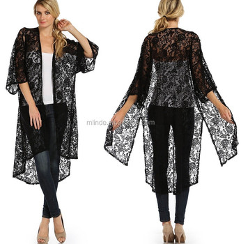 Wholesale Women Long Rosette Pattern Lace Maxi Kimono Cardigan ...