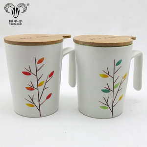 Hot Sale Kitchen Ceramic Coffee Mug with wood Lid