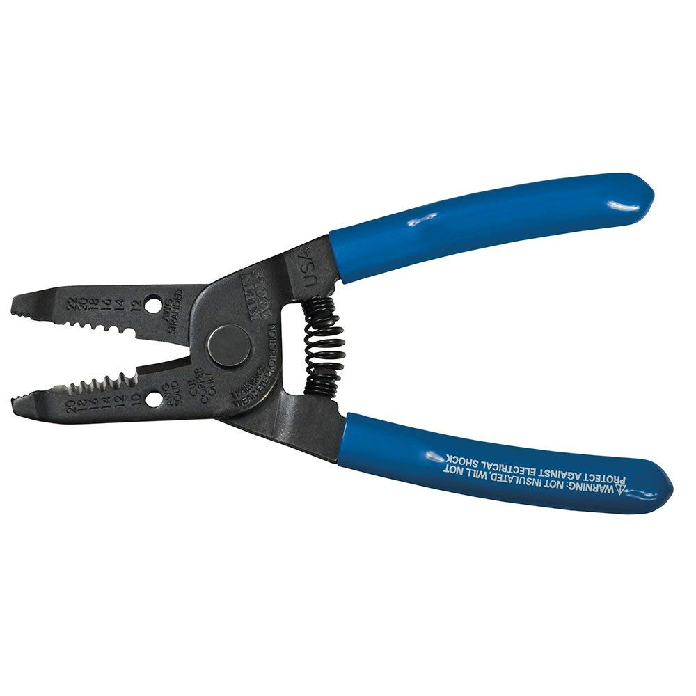 Klein Tools 1011 Spring Loaded Serrated Nose Wire Stripper/Cutter 20-10 AWG 22-12 AWG 6-1/8 Inch Blue
