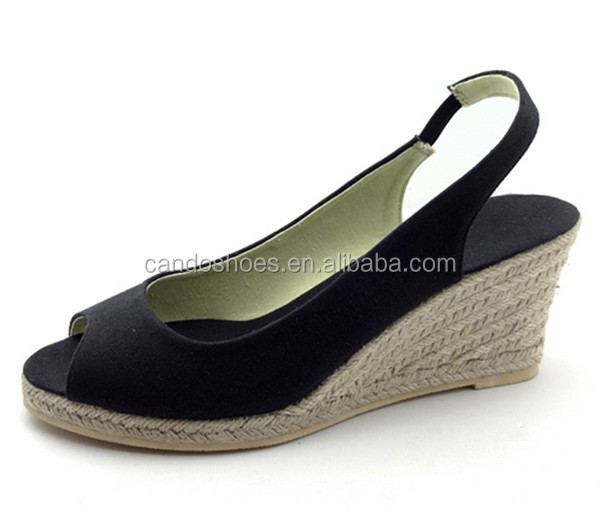 TPR Sole Clothes Manufacturers China 2018 New Wedges Lady Sandals Shoes
