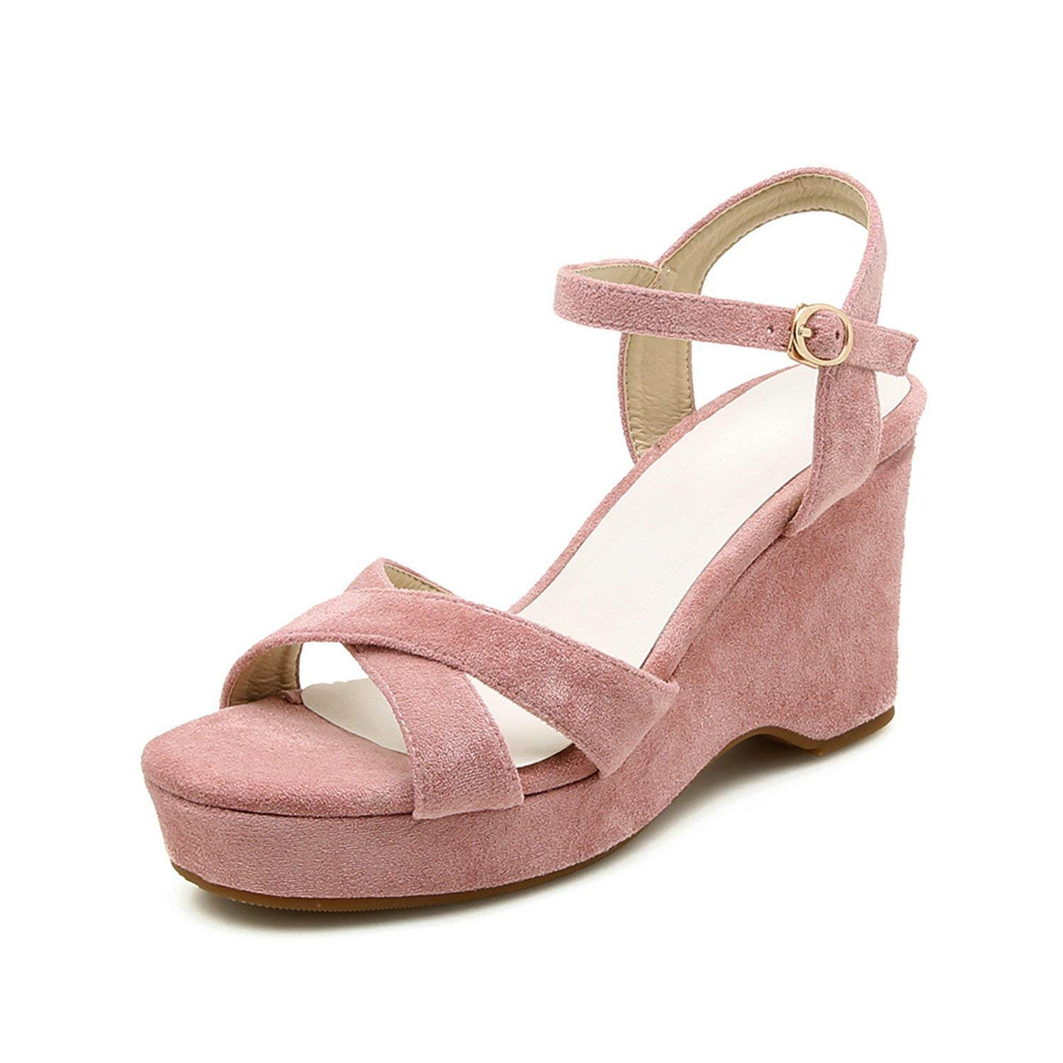 eb8a46f5274 Get Quotations · Twinkle UU Sandals 2018 Summer Flock Wedge High Heels  Ankle Buckle Strap Platform Sandal Shoes Casual