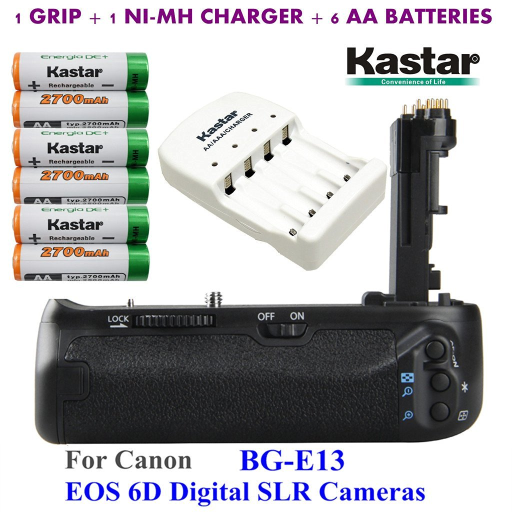 Kastar Pro Multi-Power Vertical Battery Grip (Replacement for BG-E13) + 6x AA NI-MH Batteries(2700mAh) + NI-MH Charger for Canon EOS 6D Digital SLR Cameras