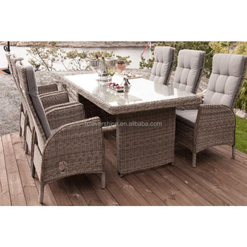 Set Giardino In Rattan.Rattan Garden Dining Sets Outdoor Tempered Glass Top Garden Table