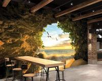 Modern Fashion Cave Outside The Sea Beach 3D Photo Wallpaper Mural 3D Living Room Bedroom Background Wall Wallpaper