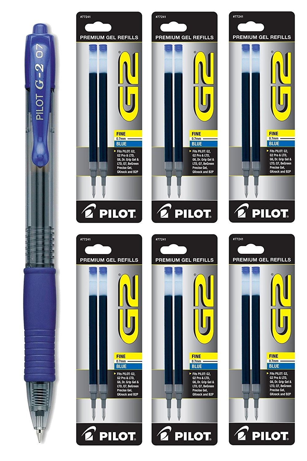 Pilot G2 Gel Ink Roller Ball, Blue Fine Point 1 Pen & 12 Refills (31171-77241)