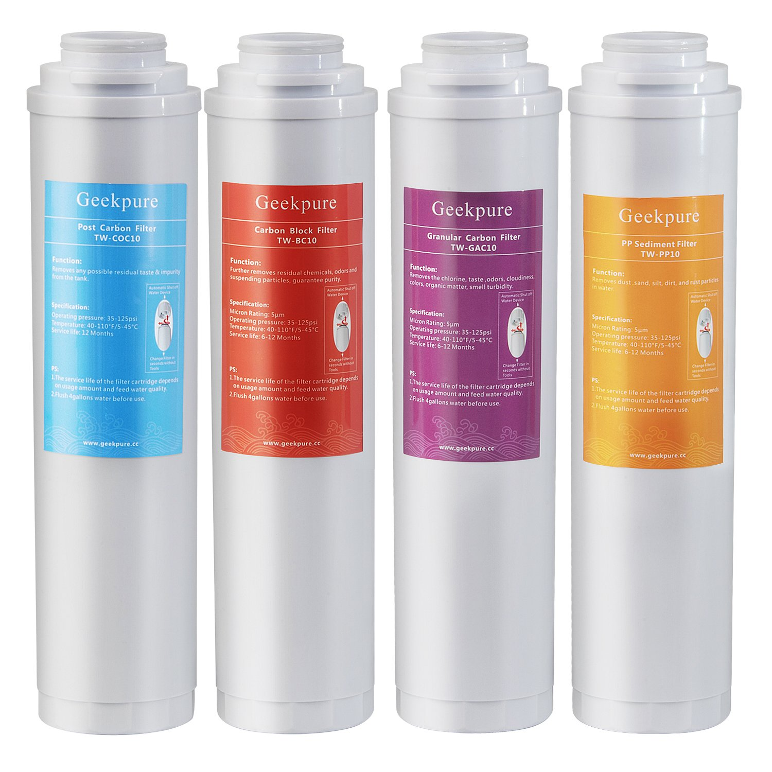 Geekpure Replacement Pre-Filter Sets for RO-TW Series Reverse Osmosis System(1xPP Sediment 1xGranular Carbon 1xCarbon Block 1xPost Carbon Filter- NO membrane)