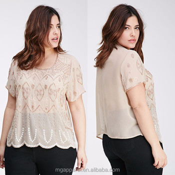 391f2d2df Trendy women short sleeve blouse bead-embroidered chiffon blouse designs  for fat ladies