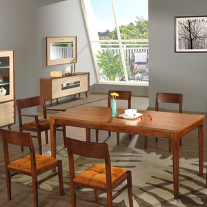 dining room furniture Contemporary Dining Set 7 Pieces, Wood and Fabric