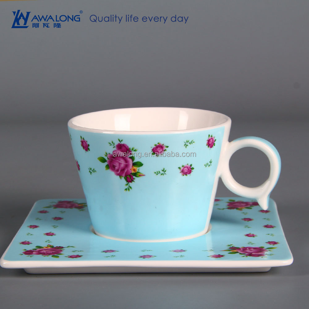 200ml Blue Background Rose Painting Custom Porcelain Coffee Cups, French Coffee Cups