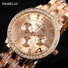 Famous Brand Men Women Rose Gold Geneva Stainless Steel Quartz Watch Military Crystal Casual Analog Watches Relogios Feminino