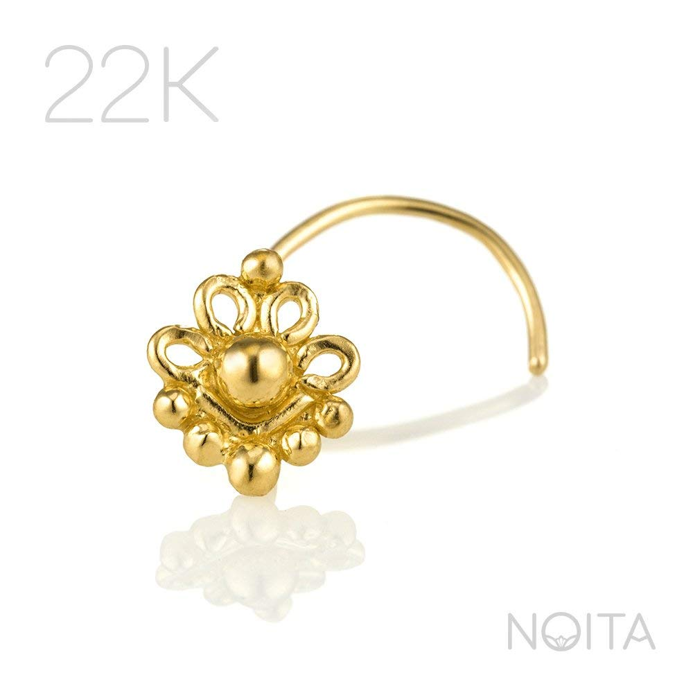 Fits Cartilage Earring Tragus /& Helix Piercing 22K Yellow Gold Indian Tribal Flower Nose Screw 24g Handmade Jewelry Unique Nose Stud