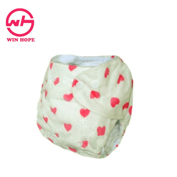 Lovely Red Hearts Printing White Suede Cloth Surface Reusable Baby Diaper, Mixed